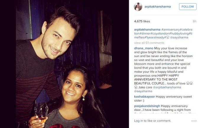 Arpita khan celebrates her first wedding anniversary in