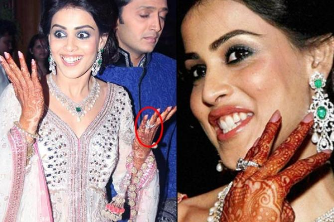bollywood actresses Genelia DSouza engagement ring