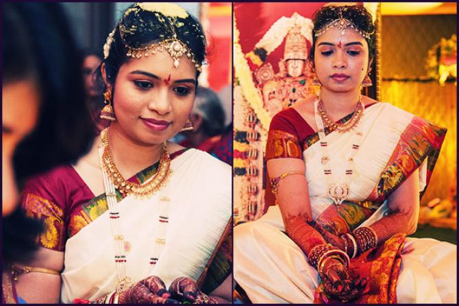 ethnic telugu wedding bridal look details- BollwyoodShaadis