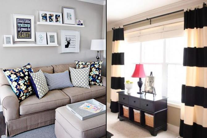 #2. Contrasting Prints. How To Decorate Your Living Room Within A Budget