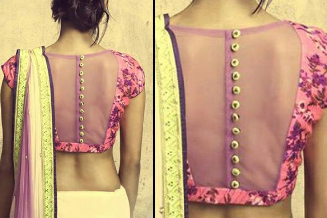 Stand Collar Blouse Designs Images : Beautiful back designs of saree blouses for graceful look