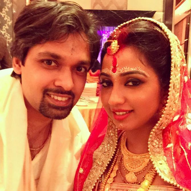 Shreya Ghosal with husband Shiladitya Mukhopadhyaya