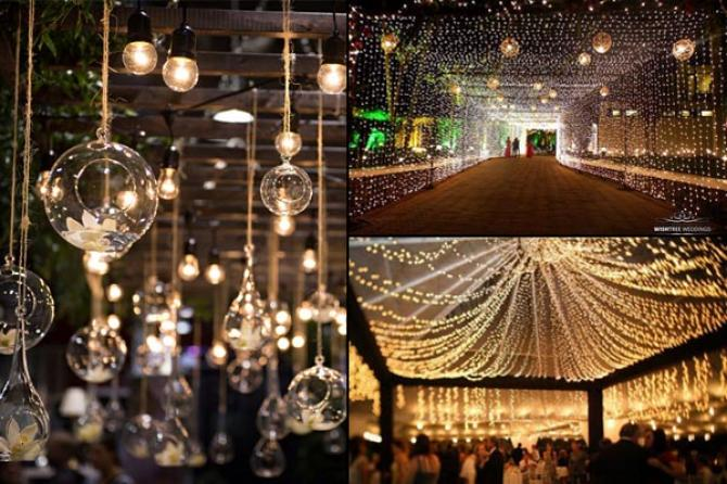 10 wedding decor ideas for the main entrance of the wedding venue fairy lightsbulbs on the ceiling is a win win decoration it gives that felling of the starry night and is apt for indoor or outdoor wedding celebration junglespirit Image collections