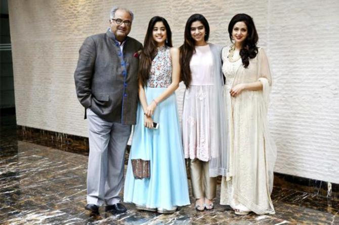 Sridevi and Boney Kapoor with kids