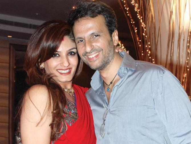 Raveena Tandon with husband