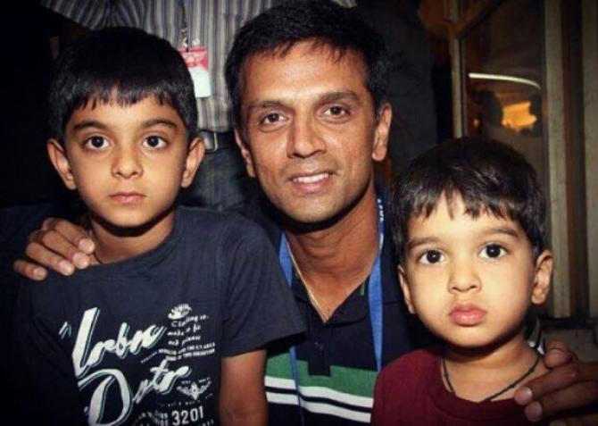Rahul Dravid with his sons