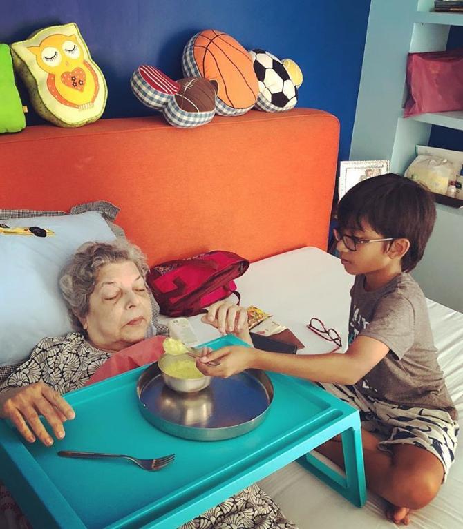Farah Khan Son Czar Takes Care Of His Naani