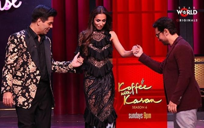 Malaika with Karan and Aamir