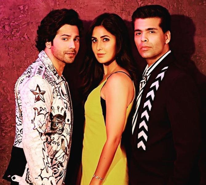 Varun Dhawan, Katrina Kaif and Karan Johar