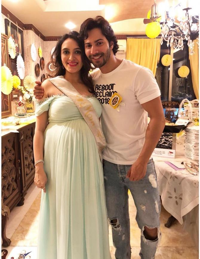 Varun Dhawan With Sister-In-Law Jaanvi At The Baby Shower