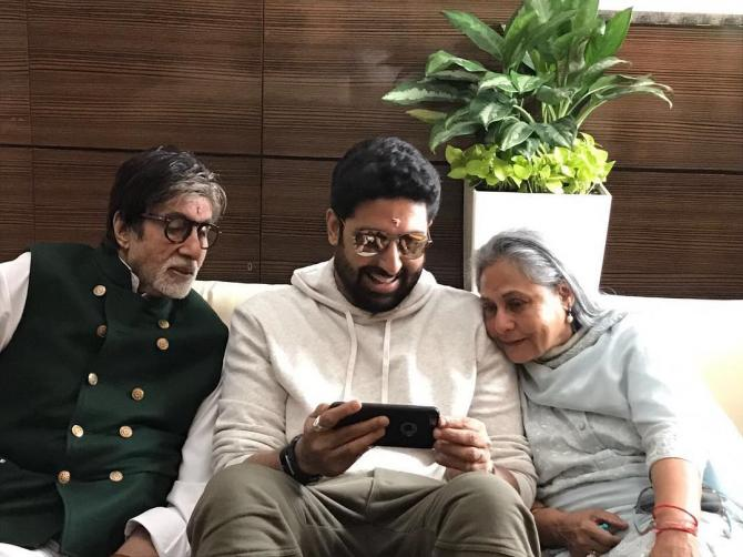 Abhishek Bachchan with parents, Amitabh and Jaya Bachchan