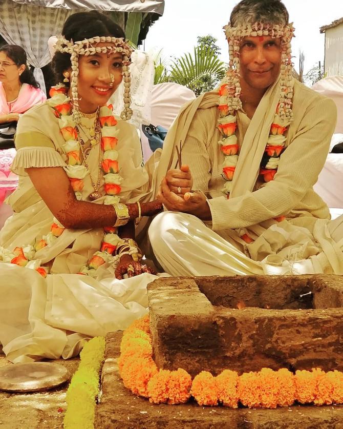 Milind Soman and Ankita Konwar