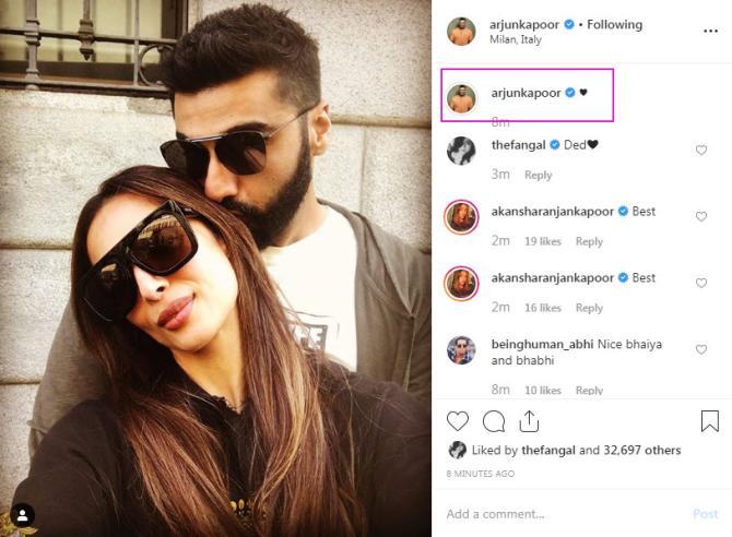 Arjun Kapoor birthday wish for Malaika