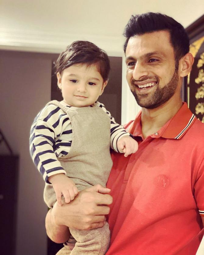 Shoaib Malik and Izhaan Mirza Malik