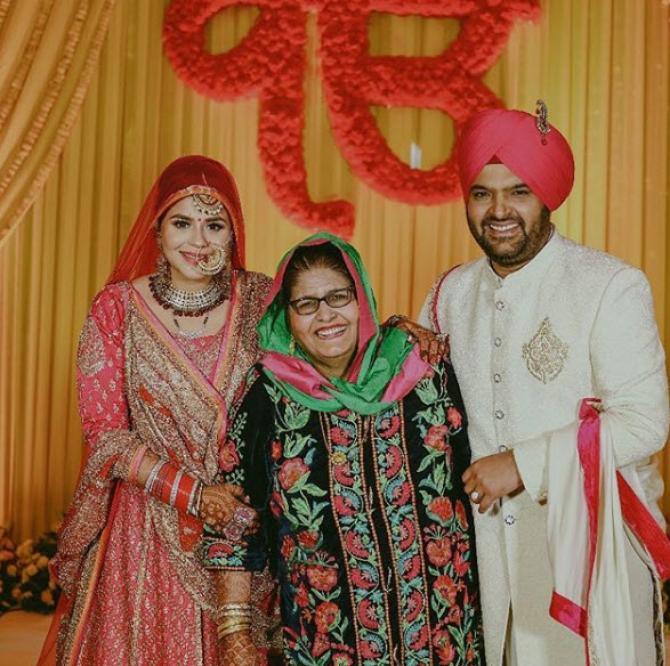 Kapil Sharma And Ginni Chatrath With His Mum