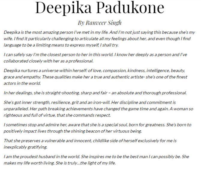 Ranveer Singh's Writes An Open Letter For Deepika Padukone
