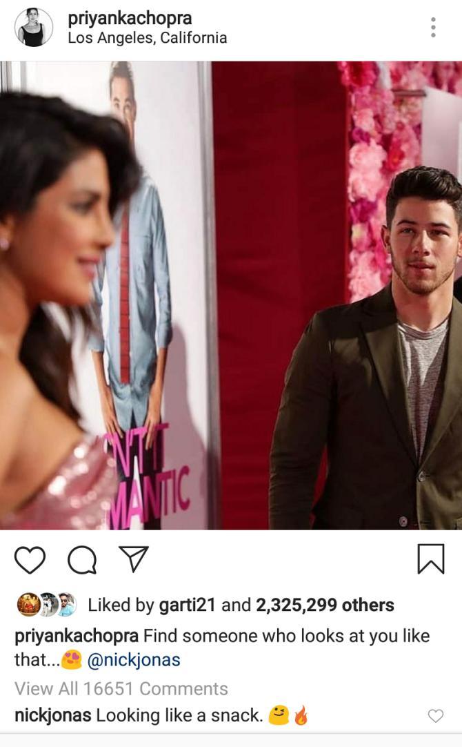 Nick Jonas comments on Priyanka Chopra's post