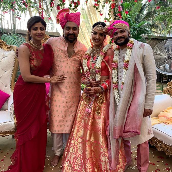 Reena Kundra, Raj Kundra and Shilpa Shetty Kundra