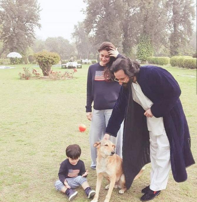 Kareena Saif and Taimur at Pataudi Palace