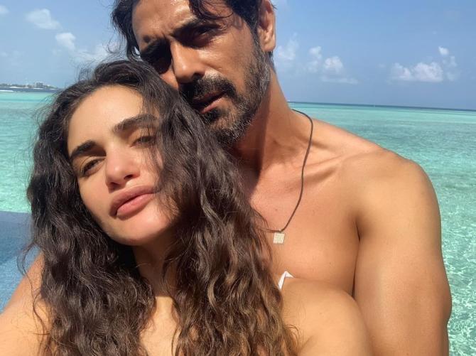 Arjun Rampal with GF, Gabriella Demetriades