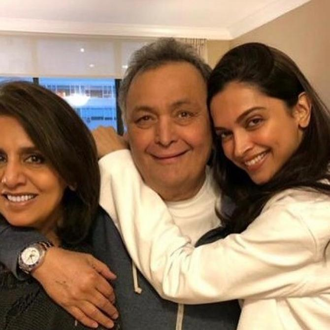 Rishi Kapoor, Neetu Kapoor and Deepika Padukone