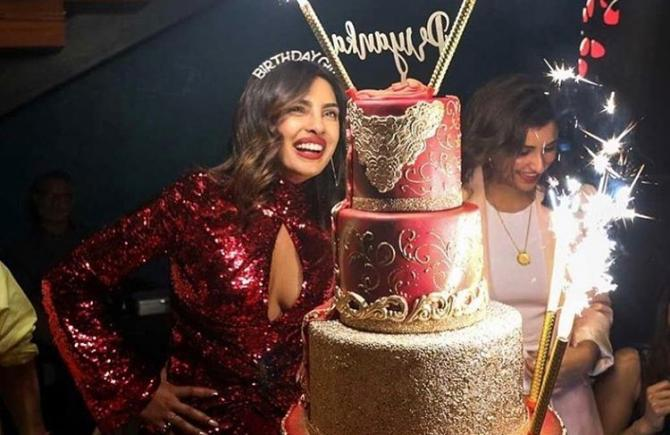 Fine Priyanka Chopras Birthday Cake Has 24K Edible Gold Can You Guess Funny Birthday Cards Online Fluifree Goldxyz
