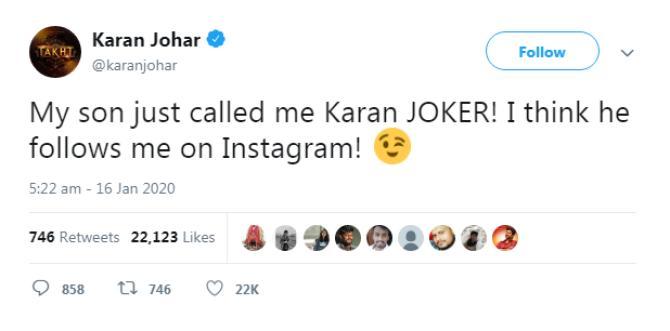 takht director Karan Johar tweet son yash johar