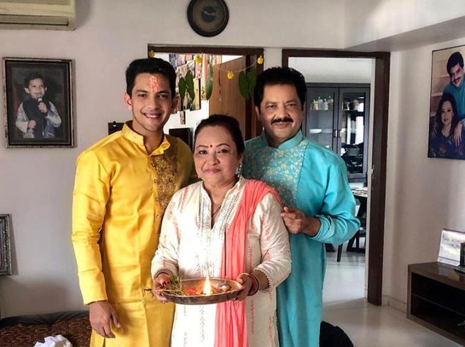 Udit Narayan, Deepa Narayan Jha and Aditya Narayan