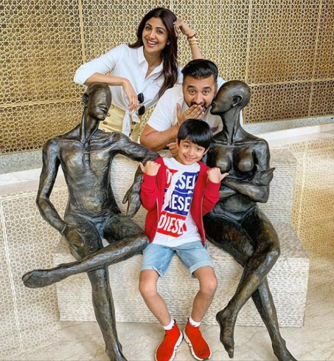 Shilpa Shetty and Raj Kundra with son