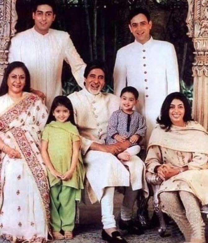 Amitabh Bachchan, Jaya Bachchan, Abhishek Bachchan, Nikhil Nanda, Shweta Bachchan Nanda, Navya Naveli Nanda and Agastya Nanda