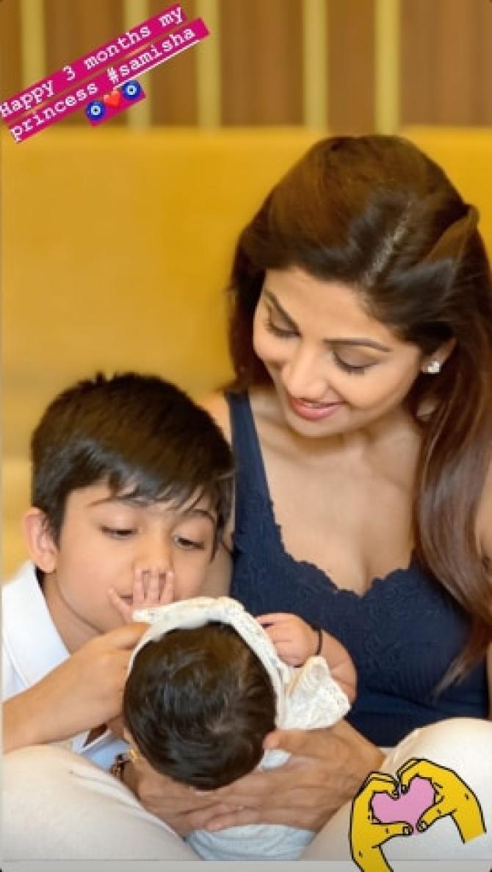 Shilpa Shetty Kundra, Viaan Kundra and Samisha Shetty Kundra