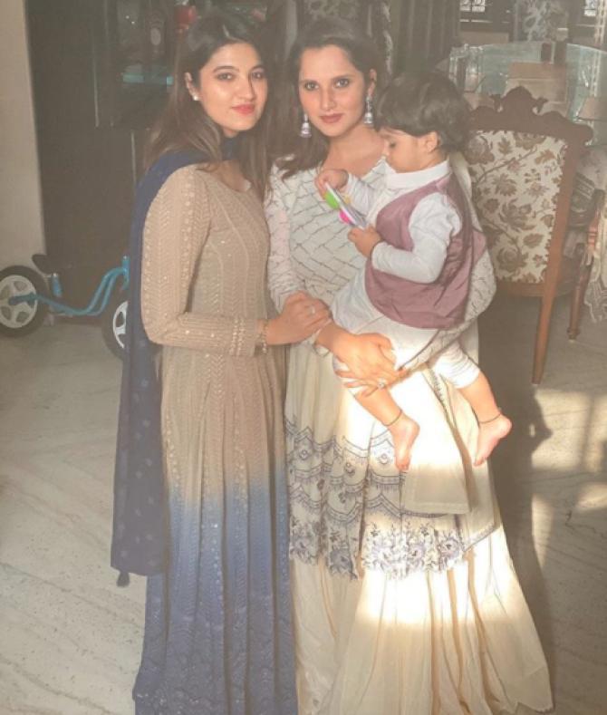 Anam Mirza, Sania Mirza and Izhaan Mirza Malik