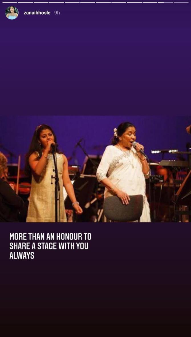 Asha Bhosle and Zanai Bhosle
