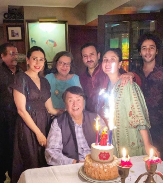 Kareena Kapoor Khan, Karisma Kapoor, Saif Ali Khan, Randhir Kapoor and Babita