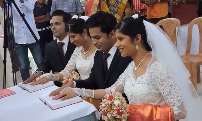 Twin brothers marry twin girls by twin priests in Kerala