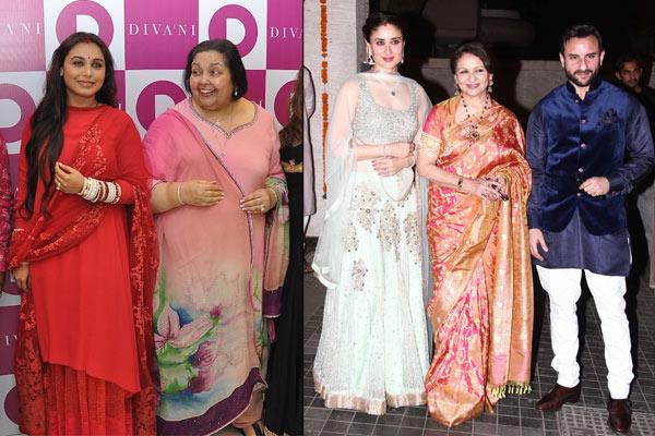 Rani Mukerjee with Pamela Chopra, Saifeena at Soha Ali Khan's reception