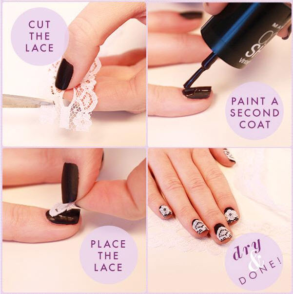 lace nails paint design