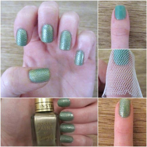 snakeskin nail art using a loofah