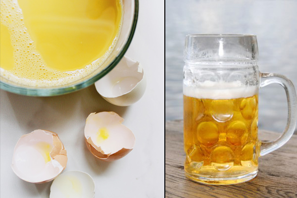 Egg and beer hair mask