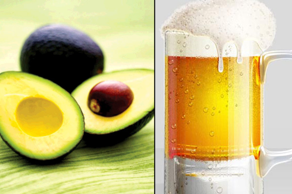 Avocado oil and beer hair mask