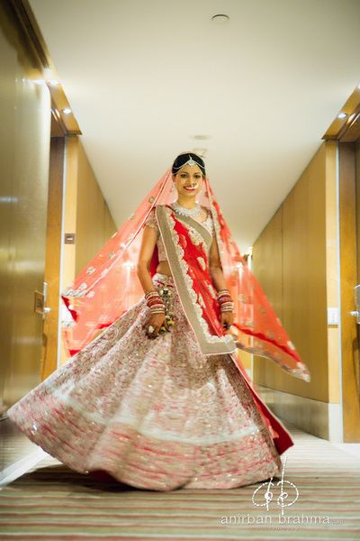 Indian bride twirling