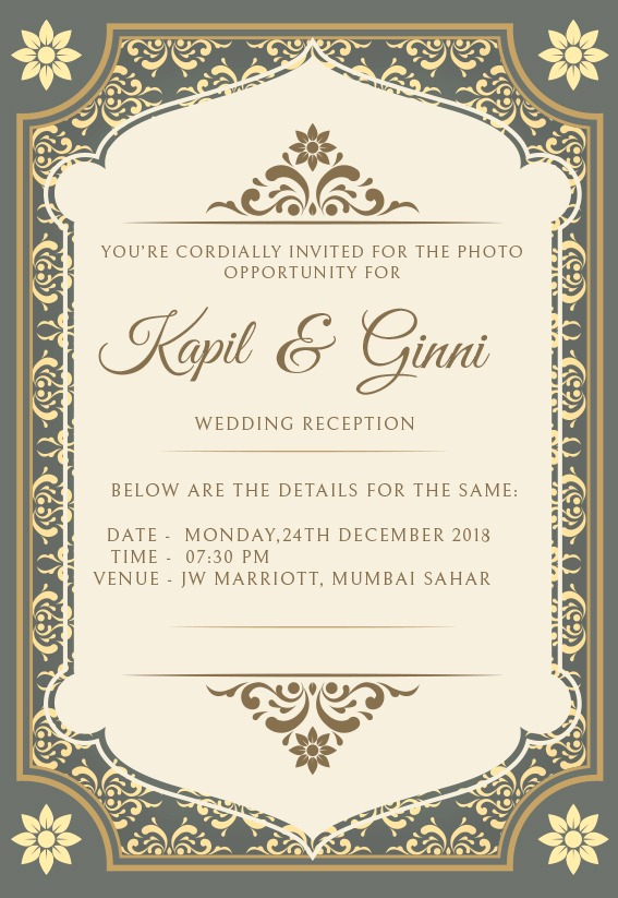 Kapil Sharma and Ginni Chatrath's Mumbai wedding reception invite