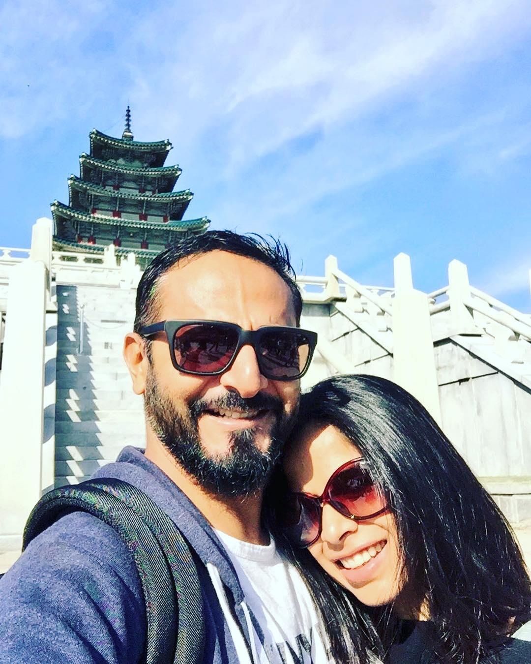 Nikhil Chinapa with wife Pearl