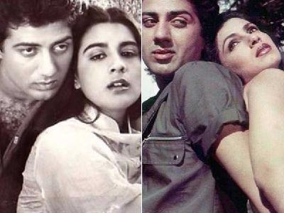 Sunny Deol with Amrita Singh and Dimple Kapadia
