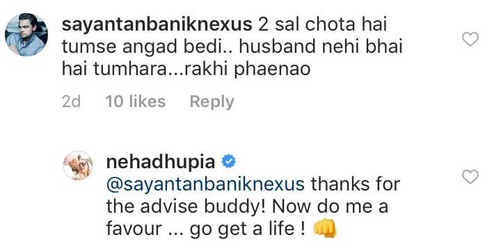 Neha Dhupia asked to tie rakhee