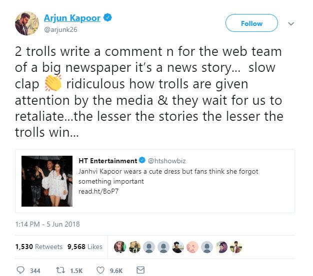 Janhvi Kapoor Trolled For Her Dress Arjun Kapoor Slams A Media House