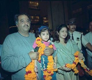 Sridevi, Boney Kapoor, Janhvi Kapoor and Khushi Kapoor