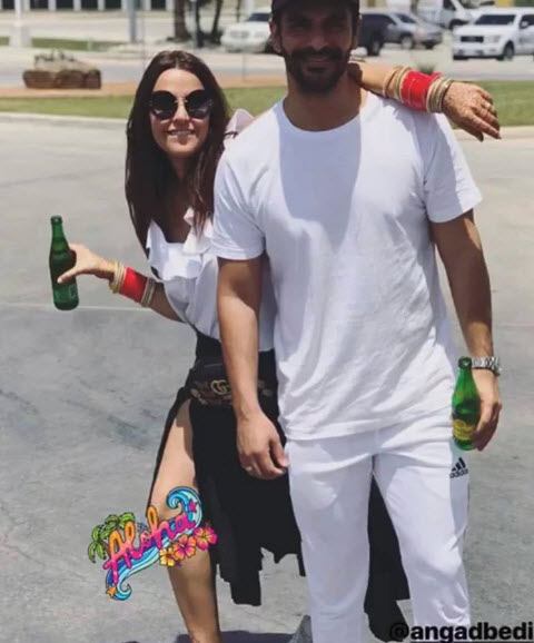 Neha dhupia twins with angad bedi inside picture from her birthday bash