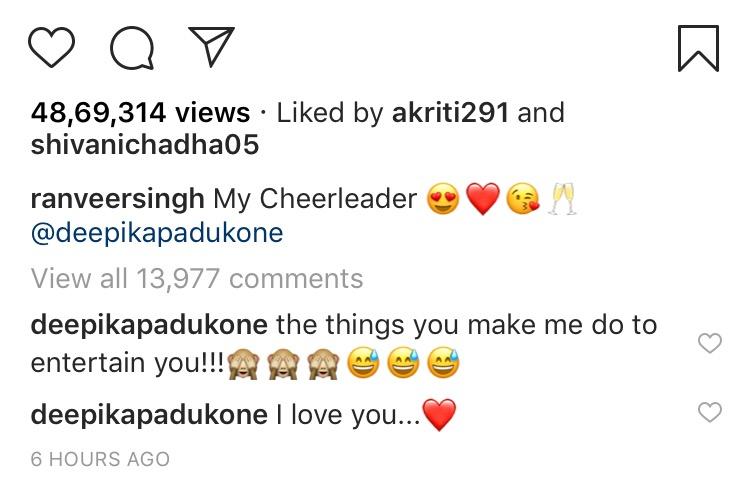 Deepika Padukone comments on Ranveer Singh's video