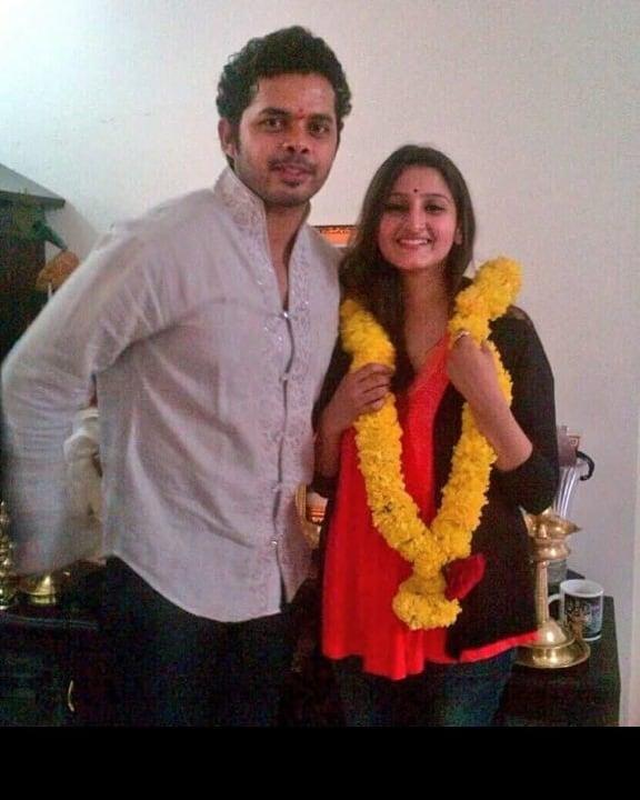 Sreesanth and his wife, Bhuvneshwari